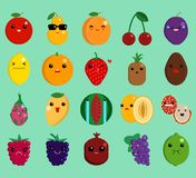 Cartoon face funny fruit emoji elements collection. Flat icons set, Colorful symbols pack contains - apple pear peach cherry lemon orange strawberry pineapple Stock Images