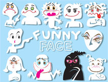Cartoon face funny set design Stock Image