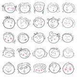Cartoon face of girl set Royalty Free Stock Photography