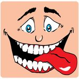 Cartoon Face of man with a big mouth Royalty Free Stock Images