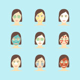 Cartoon Face Mask Skincare Set. Vector Royalty Free Stock Photo