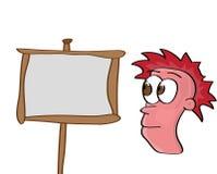 Cartoon face. Vector illustration of a cartoon face and desk Royalty Free Stock Photography