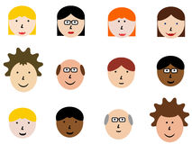 Cartoon faces. Face icon set - group of face emotions and diverse people group. Design element illustration - simple heads collection Royalty Free Stock Image