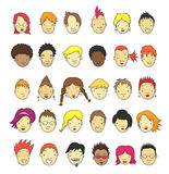 Cartoon Faces. Set of 30 different cartoon faces for avatar Stock Photo