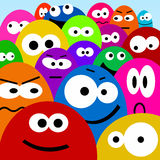 Cartoon faces. Funny cartoon faces in a myriad of colors Stock Photo