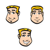Cartoon faces. Smiling cartoon face in different views on white background Stock Image