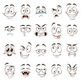 Cartoon faces. Caricature comic emotions with different expressions. Expressive eyes and mouth, funny flat vector