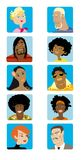 Cartoon Faces Collection. Collection of ten faces, illustrations, various ethnicity, male and female young adult Stock Photography