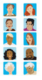 Cartoon Faces Collection. Collection of ten faces, illustrations, various ethnicity, male and female young adult and senior Stock Illustration