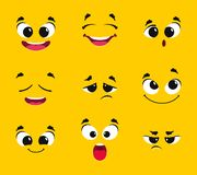 Cartoon faces collection. Different emotions smile joy surprise sadness anger longing fright vector emoticons. Illustration of facial emotional, surprised and vector illustration
