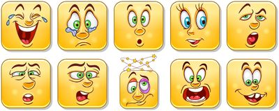 Cartoon faces collection. Emoticons. Smiley. Emoji royalty free stock images