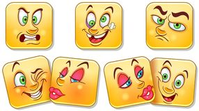 Cartoon faces collection. Emoticons. Smiley. Emoji stock photography