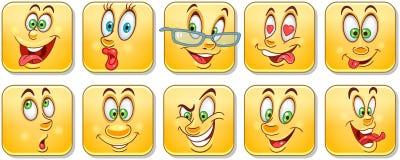 Cartoon faces collection. Emoticons. Smiley. Emoji stock images