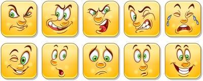 Cartoon faces collection. Emoticons. Smiley. Emoji royalty free stock photography