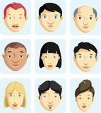 Cartoon Faces Collection Stock Image