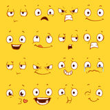 Cartoon faces with different expressions vector set Stock Images