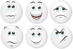 Cartoon faces with emotions,vector Royalty Free Stock Photography