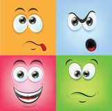 Cartoon faces with emotions,vector Stock Images