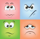Cartoon faces with emotions,vector Royalty Free Stock Image