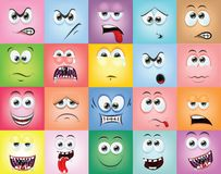 Cartoon faces with emotions,vector Stock Photos