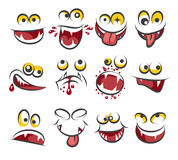 Cartoon faces emotions isolated on white background. Sketch cute face expression vector illustration. Caricature character face emotion Royalty Free Stock Image