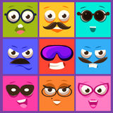 Cartoon Faces with Emotions and Mustache. Vector Royalty Free Stock Photography
