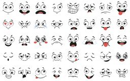 Cartoon faces. Expressive eyes and mouth, smiling, crying and surprised character face expressions vector illustration