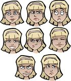 Cartoon faces female Royalty Free Stock Photos