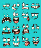 Cartoon faces. Funny cartoon faces with different expressions. Vector clip art illustration with simple gradients. Each on a separate layer Royalty Free Stock Images