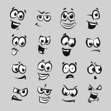 16 Cartoon faces series emotion Stock Photos