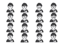 Cartoon faces Set drawing illustration Royalty Free Stock Images