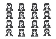 Cartoon faces Set drawing illustration Stock Images
