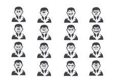 Cartoon faces Set drawing illustration Stock Image