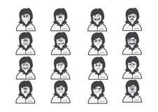 Cartoon faces Set drawing illustration Royalty Free Stock Photos
