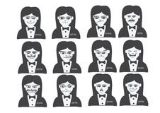 Cartoon faces Set drawing illustration Stock Photography