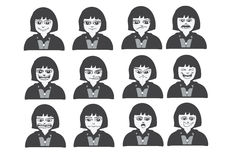 Cartoon faces Set drawing illustration Stock Photos