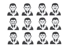 Cartoon faces Set drawing illustration Royalty Free Stock Image