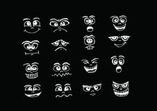 Cartoon faces Set hand drawing illustration Royalty Free Stock Photo