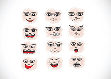 Cartoon faces Set hand drawing illustration Stock Image