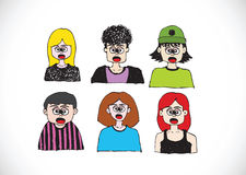 Cartoon faces Set hand drawing illustration Stock Images