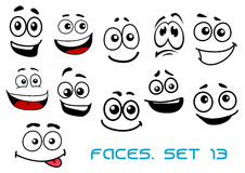 Cartoon faces with various emotions Stock Photography