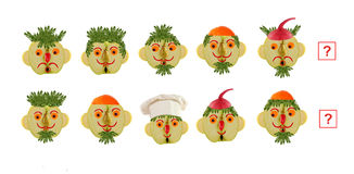 Cartoon faces of vegetables and fruits, as an illustration of ma Stock Photo