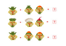 Cartoon faces of vegetables and fruits, as an illustration of ma Stock Images