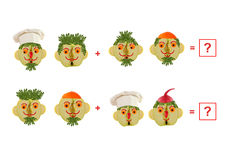 Cartoon faces of vegetables and fruits, as an illustration of ma Royalty Free Stock Images