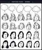 Cartoon faces- women Stock Photos