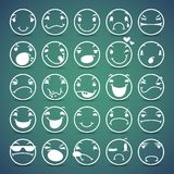 Cartoon Facial Espressions Icons Set Stock Images