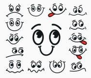 Cartoon facial expression of joy, of sadness, discontent. Royalty Free Stock Image