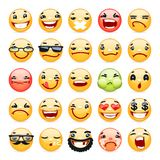 Cartoon Facial Expression Smile Icons Set Royalty Free Stock Photos