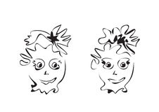Cartoon facial expressions set Stock Images