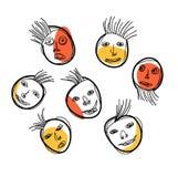 Cartoon facial expressions set Royalty Free Stock Photography